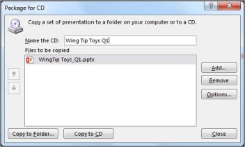 Empaquetar una presentación para CD
