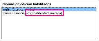 Editar el idioma con compatibilidad limitada