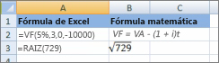 Fórmulas de Excel y fórmulas matemáticas similares