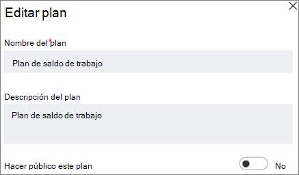 Captura de pantalla del cuadro de diálogo Editar plan que muestra que este control público de plan.