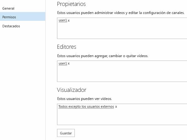 Permisos de vídeo de Office 365