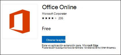 La página de la extensión de Office online en Microsoft Store