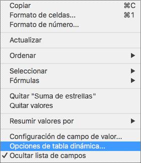 Opciones de Tabla dinámica en el menú contextual de Excel para Mac.