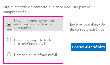 Screen shot that shows the contact method options to use for verification: email, text, or call my mobile phone.