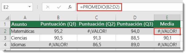 Error #¡VALOR! en la función PROMEDIO