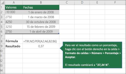 Un ejemplo de la función XIRR