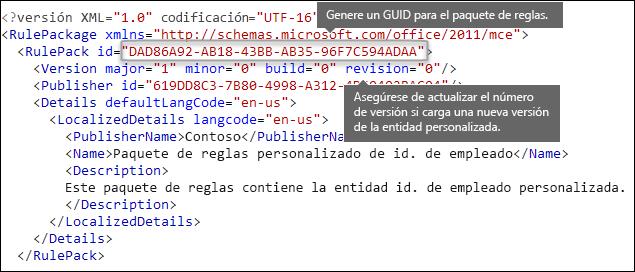 Formato XML que muestra el elemento RulePack