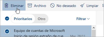 Una captura de pantalla del botón Eliminar todo