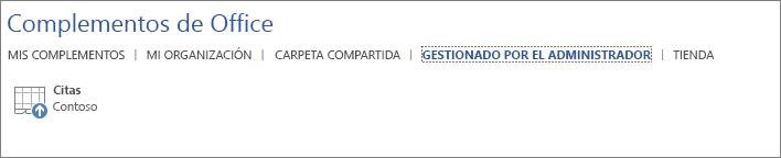 Captura de pantalla que muestra la pestaña de Gestionados por el administrador de la página de Complementos de Office en una aplicación de Office. El complemento Citas se muestra en la pestaña.