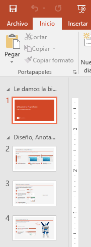 El panel de diapositivas