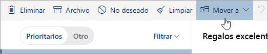 Una captura de pantalla del botón Mover a