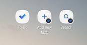 Captura de pantalla que muestra los métodos abreviados de la pantalla de inicio de Android para la aplicación de tareas pendientes, agregar nueva tarea y búsqueda