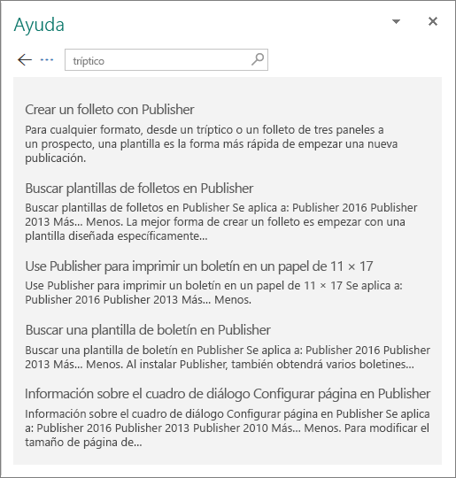 Captura de pantalla del panel de Ayuda de Publisher 2016 que muestra los resultados de una búsqueda de Tríptico.