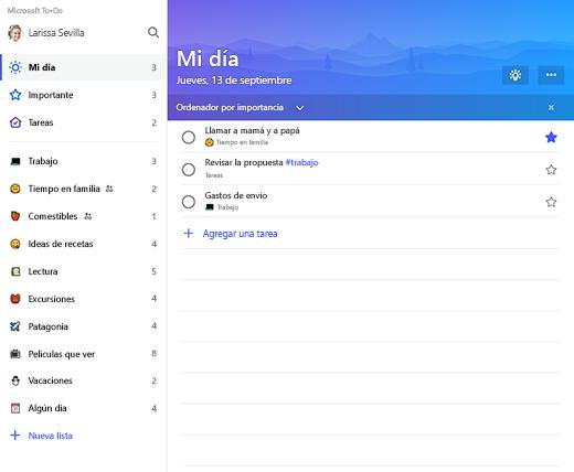 Captura de pantalla donde se muestra la barra lateral de la lista y la lista Mi día en Microsoft To-Do
