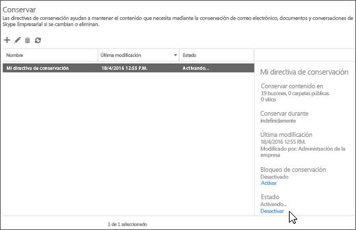 Opción para desactivar una directiva de preservación de la página de retención del centro de seguridad y cumplimiento
