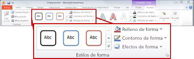 Ficha Formato en Herramientas de SmartArt.