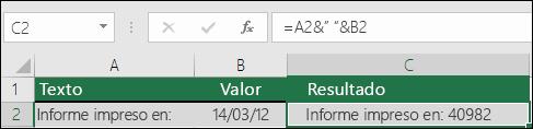 Ejemplo de unión de texto sin la función TEXTO