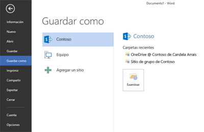 Pantalla Guardar en la que se muestran OneDrive para la Empresa y el sitio de SharePoint agregado como ubicación