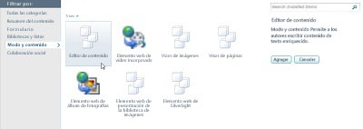 Cuadro de diálogo Más elementos web