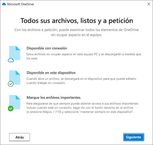Pantalla Archivos a petición del asistente Bienvenido a OneDrive