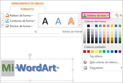 La galería Color de relleno de texto se encuentra en la ficha Formato de herramientas de dibujo