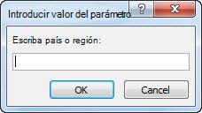 """Indicador de parámetro con el texto """"Escriba el país o la región""""."""