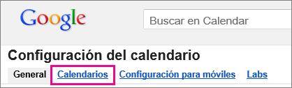 google calendar - haga clic en Calendarios
