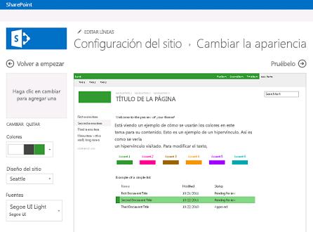 Ejemplo de pantalla usada para cambiar la fuente, el color y el diseño del sitio