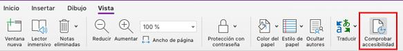 Herramienta de accesibilidad de Comprobación de OneNote para Mac