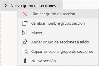 Eliminar grupos de secciones en la aplicación de OneNote para Windows 10
