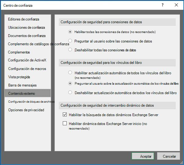 Configuración de contenido externo en el centro de confianza de Excel