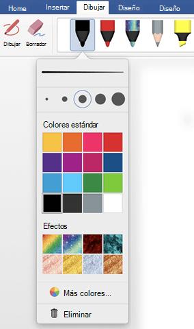 Opciones de color y grosor de una pluma en la galería de plumas de Office en la pestaña Dibujar