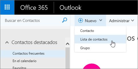 Captura de pantalla de Nuevo comando, con la lista de contactos seleccionada.