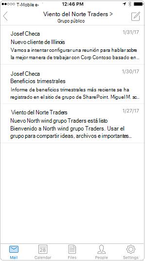 Vista de conversación en la aplicación móvil de Outlook