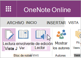 Abrir herramientas de aprendizaje en OneNote Web App, seleccione la ficha Ver