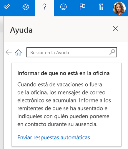 Panel de ayuda en Outlook en la Web
