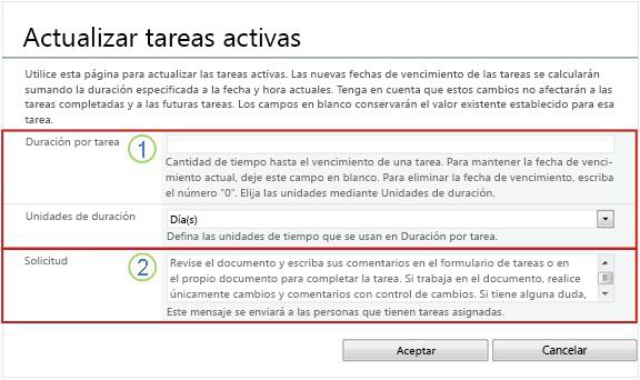 Formulario de cambio de tareas activas