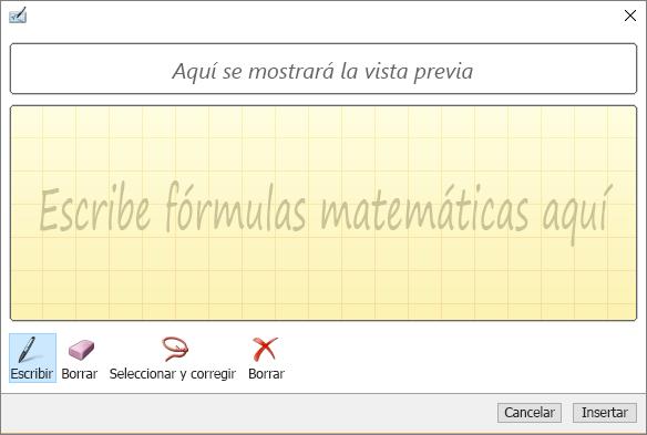 Muestra el panel Ecuación de lápiz en Word