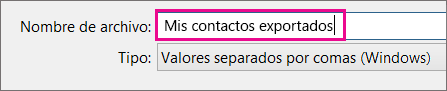 Escriba un nombre para el archivo de contactos.