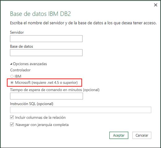 Cuadro de diálogo Conector para Base de datos IBM DB2 de Power BI para Excel