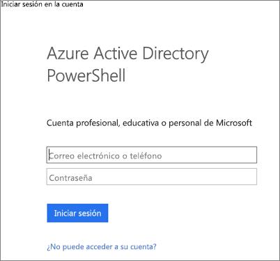 Escribir sus credenciales de administrador de Azure Active Directory