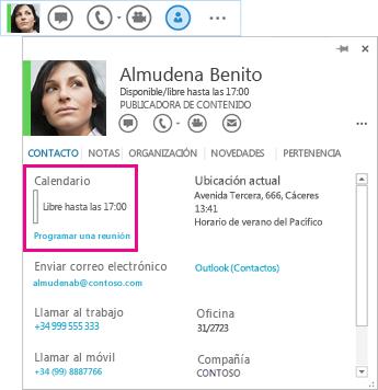 Captura de pantalla de contactos rápidos de Lync y tarjeta de contacto con Calendario y Programar una reunión resaltados