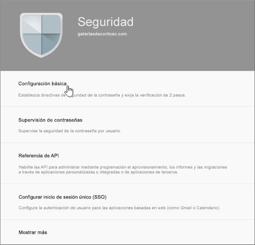 En la página Seguridad, elija Configuración básica