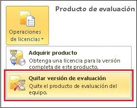 Quitar la versión de evaluación de Office2010