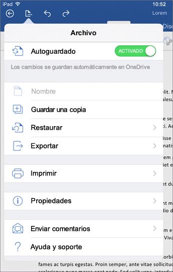 El botón Archivo de Word para iOS le permite imprimir, guardar, enviar comentarios y mucho más.