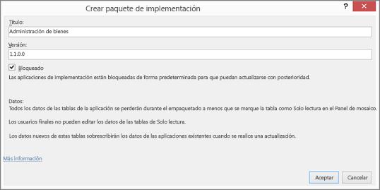 Cuadro de diálogo Crear paquete de implementación
