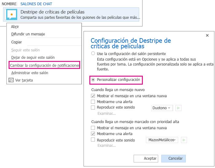 Captura de pantalla de selección de menú y ventana para personalizar notificaciones