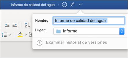 Lista desplegable en la barra de título que muestra un nombre de archivo y una ubicación