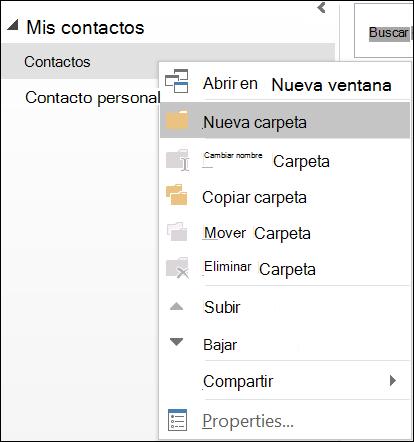 Crear una nueva carpeta de contactos.