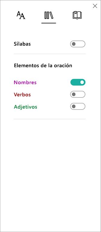Menú Elementos de la oración en Lector inmersivo, parte de Herramientas de aprendizaje para OneNote.